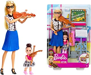 CQ Fashion Dress up Doll, Music Teacher Doll, Blonde, and Playset with Flipping Chalkboard, Brunette Student Small Doll and 4 Musical Instruments, Career-Theme Scenario game, Gift for 3 to 7 Year Olds