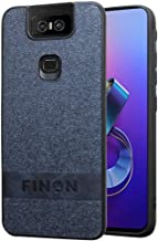 FINON Design Cotton Model [ PC/TPU/Cotton ] for ASUS Zenfone 6 ZS630KL Case - Fingerprint Prevention Function and Simple Hybrid case, Cotton Design, Shock Resistance, Lightweight - Navy