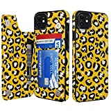 LETO iPhone 11 Case,Leather Wallet Case with Fashion Floral Flower Designs for Girls Women,with Kickstand Card Slots Cover,Protective Phone Case for Apple iPhone 11 6.1' Nice Yellow Leopard