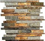 Mosaik Fliese Stein Kupfer grau rost kupfer Verbund Stein für WAND BAD WC DUSCHE KÜCHE FLIESENSPIEGEL THEKENVERKLEIDUNG BADEWANNENVERKLEIDUNG Mosaikmatte Mosaikplatte