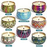 Mazu Homee Juego de velas aromáticas, 8 unidades de cera de soja natural de larga duración, portátil, para viajes, aromaterapia, alivio del estrés para mujeres
