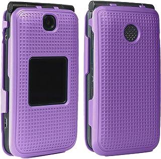 Case for Alcatel Go Flip V, Nakedcellphone [Purple] Protective Snap-On Cover [Grid Texture] for Alcatel Go Flip, MyFlip 4G...