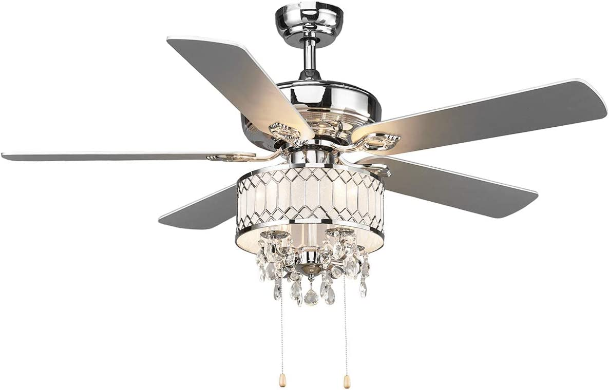 Amazon Com Tangkula 52 Crystal Ceiling Fan With Lights Classical Crystal Ceiling Fan With Pull Chain Control Elegant Modern Ceiling Fans With Chandeliers 5 Iron Reversible Blades Mute Motor Silver Home Kitchen