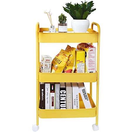 3 Tier Rolling Cart, Utility Cart with Wheels, Metal Rolling Storage Cart, Kitchen Storage Organizer Cart, Easy Assemble Trolley Service Cart with Handles for Kitchen, Office, Craft, Bedroom
