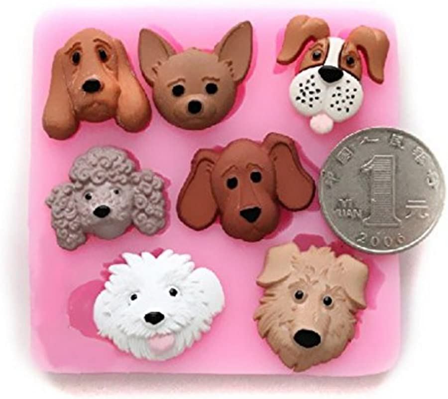 Wholeport Lovely Dogs Puppy Silicone Handmade Fondant Mold Candy Mould DIY Cake Decorating Molds