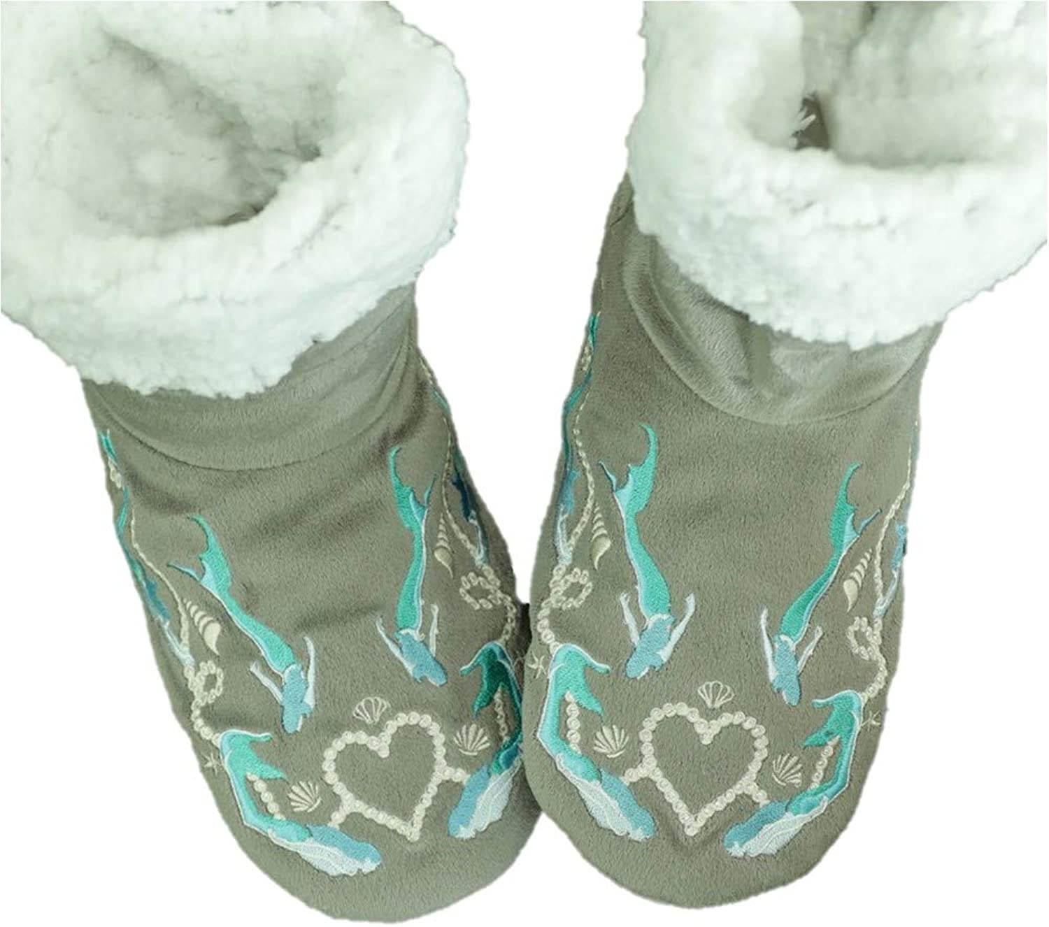 Faceplant Dreams Mermazing  Grey Mermaid Print Design Fluffy Warm Booties Winter Slipper Footsies (Medium)