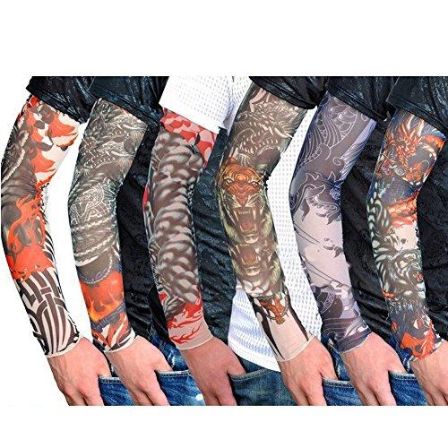 Fletion Ensemble de 6Pcs Unisexe Super Cool Body Art Slip Bras Faux temporaire sur Manches Tattoo Stocking chaud Accessoires