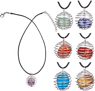 SUNNYCLUE 7pcs Healing Crystal Chakra Stone Gemstone Beads Amethyst Rose Quartz with 7pcs Round Iron Spiral Bead Cage Pendants & 19inch Necklace Reiki Energy Set