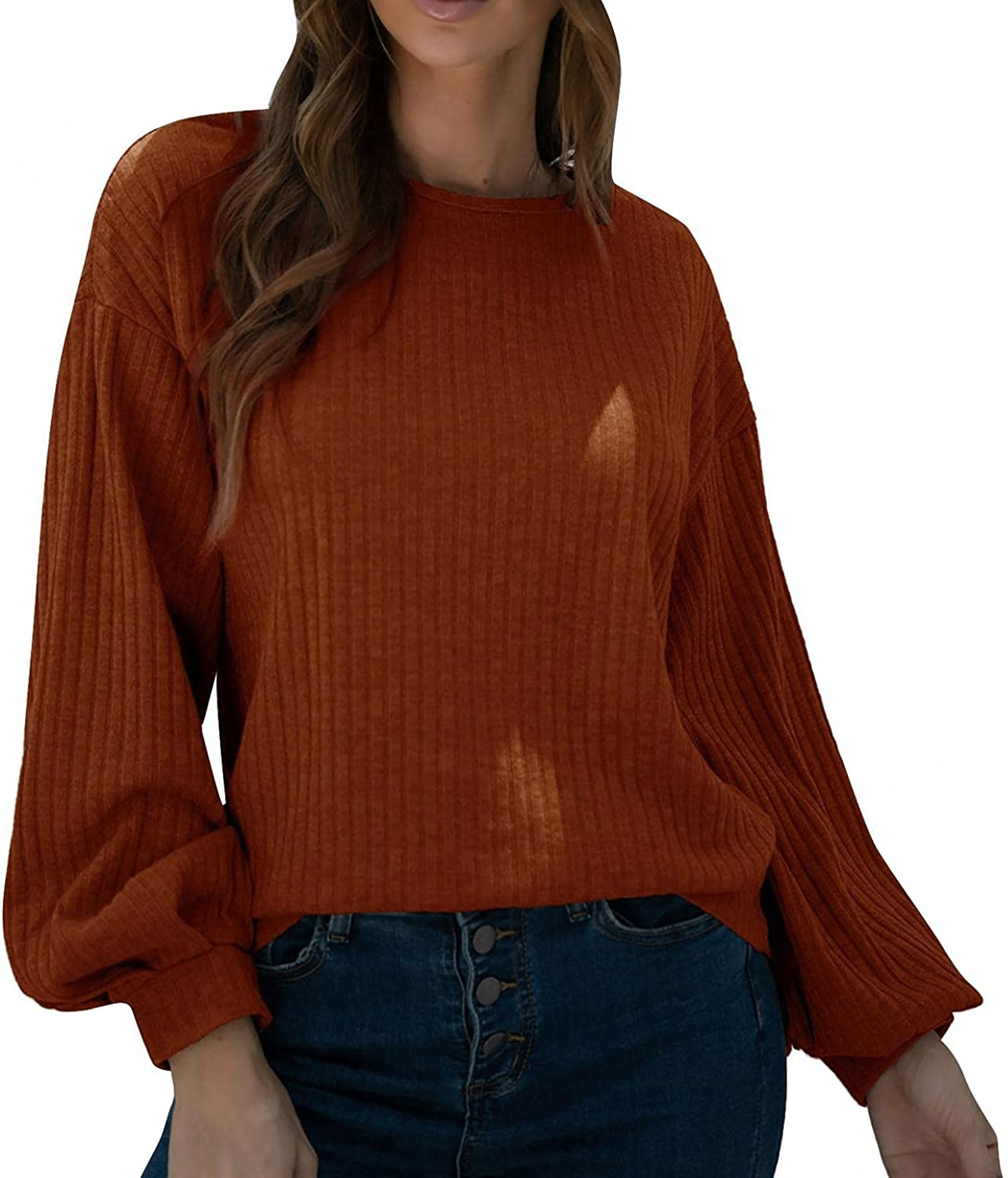 Hemlock Women Slim Sweaters Solid Color Knit Tops Autumn Long Sleeve Pullover Jumper Blouse