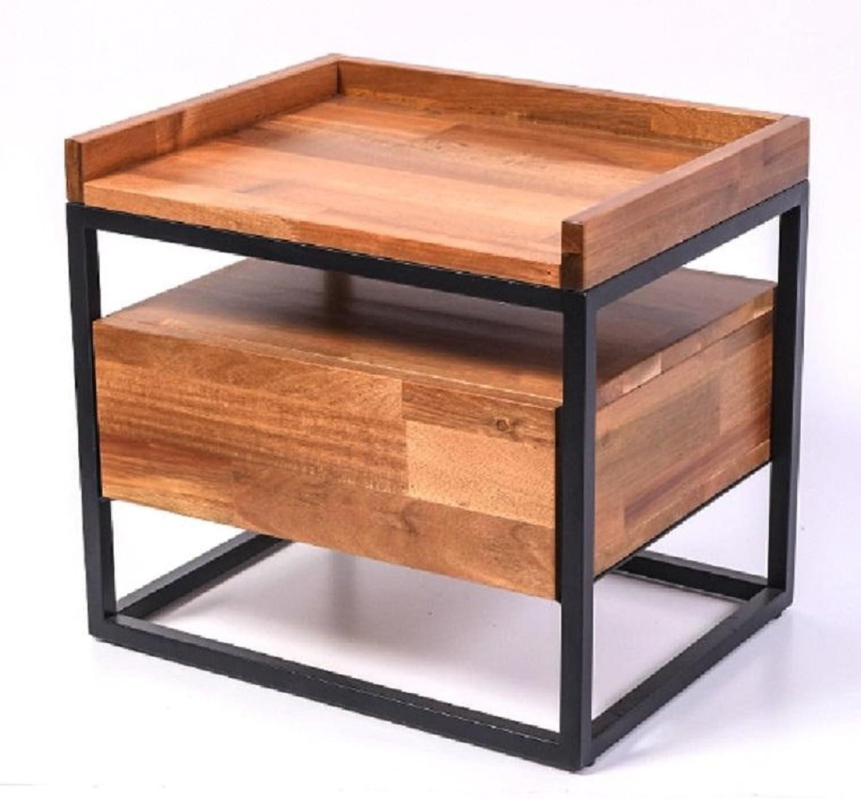 Lovie Bedside Table LAMP Bed Side Acacia Wood Metal Frame Unit NIGHTSTAND Natural