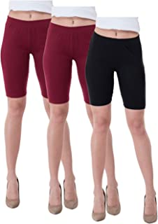 IndiWeaves Women's Cotton Cycling Shorts (Csw02-2csw03-iw_Maroon/Black_40) Pack of 3
