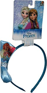 Disney Frozen Girls Blue Sparkle Headband with Side Satin Bow Featuring Disney Princesses Elsa and Anna