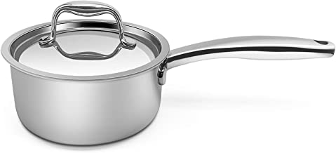 Fortune Candy 1.6-Quart Saucepan with Lid, Tri-Ply, 18/10 Stainless Steel, Comfortable Grip & Advanced Welding Technology,...