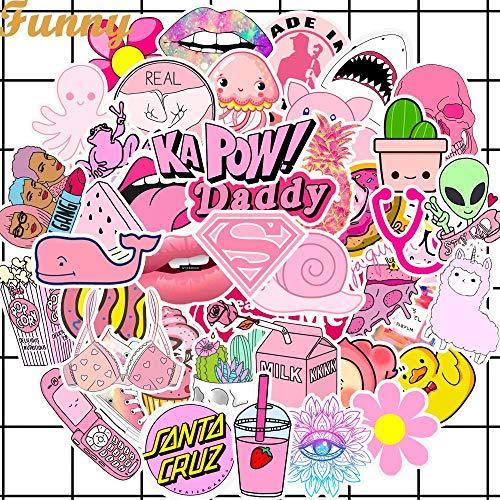 BLOUR 50 Uds PVC Impermeable niñas Kawaii Rosa Divertido Pegatina Juguetes Equipaje Pegatinas para Motor Coche y Maleta Moda portátil calcomanías Pegatinas