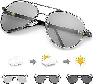 Photochromic Pilot Sunglasses for Men with Polarized Lens for Driving - UV400 Reduce Eyes Fatigue
