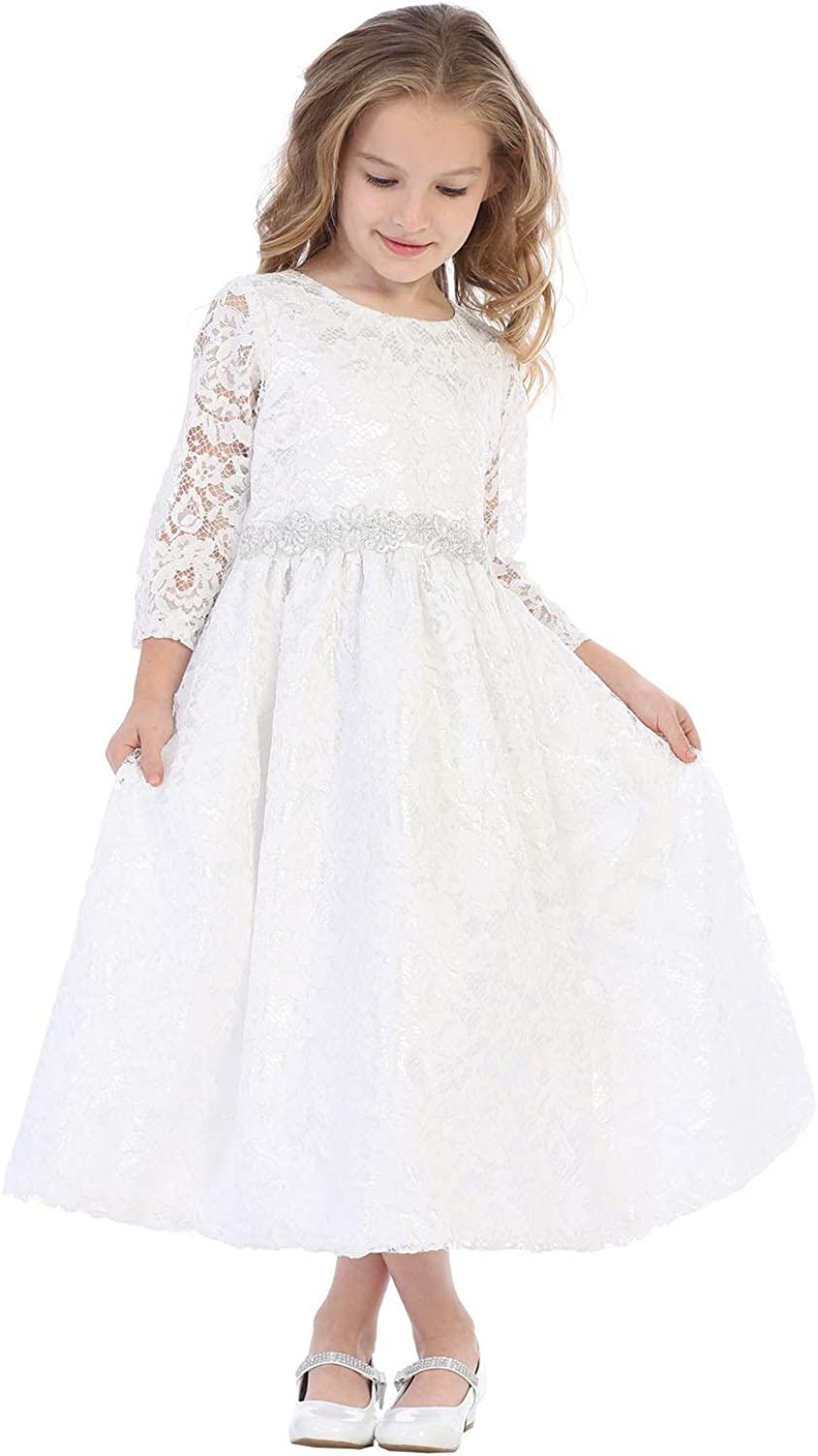 SWEA Pea Fixed price for sale Lilli White First Communion with Gir Dresses for Lace Inventory cleanup selling sale