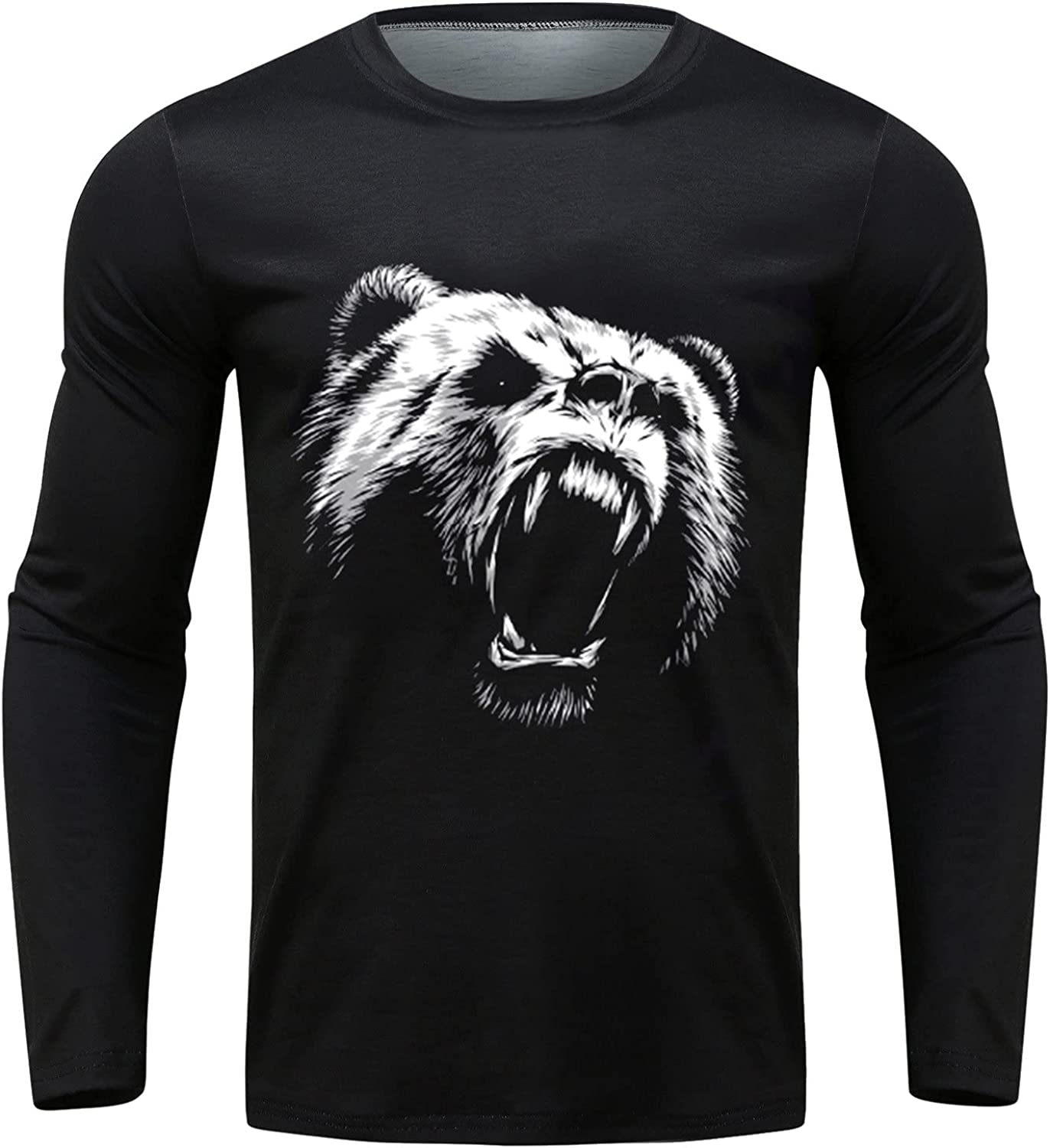 Men Lightweight Graphic T-Shirt Casual Long Sleeve Cotton Tee Fashion Muscle Gym Workout Tops Crewneck Shirts Blouse
