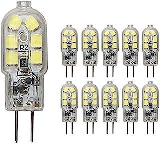 JKLcom G4 LED Light Bulbs G4 Bi-Pin Base 1.5W (20W Halogen Bulb Equivalent) 12V Daylight White 6000K LED Bulbs for Landscape Ceiling Under Counter Puck Lighting,Pack of 10,Clear Cover