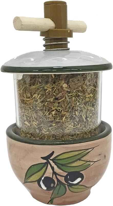 Terre 62081 Ceramic Herbes De Provence Grinder Olive Design With Beige Background