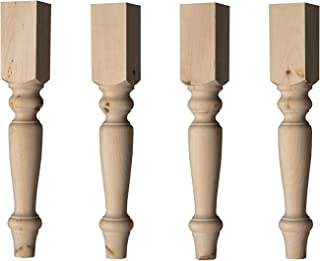 English Country Dining Table Leg in Knotty Pine Wood (Set of 4)
