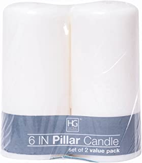 Hosley 2 Pack White Unscented Pillar Candles 3 x 6 Inch high. Ideal for Wedding Church Vigil Emergency Lanterns Spa Aromatherapy Party Reiki Candle Garden. W1