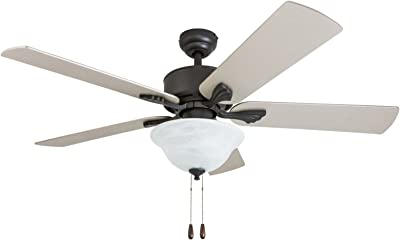 "Prominence Home 50668-01 Berclair Traditional Ceiling Fan, 52"", Chilled Gray/Chocolate Maple, Aged Bronze"
