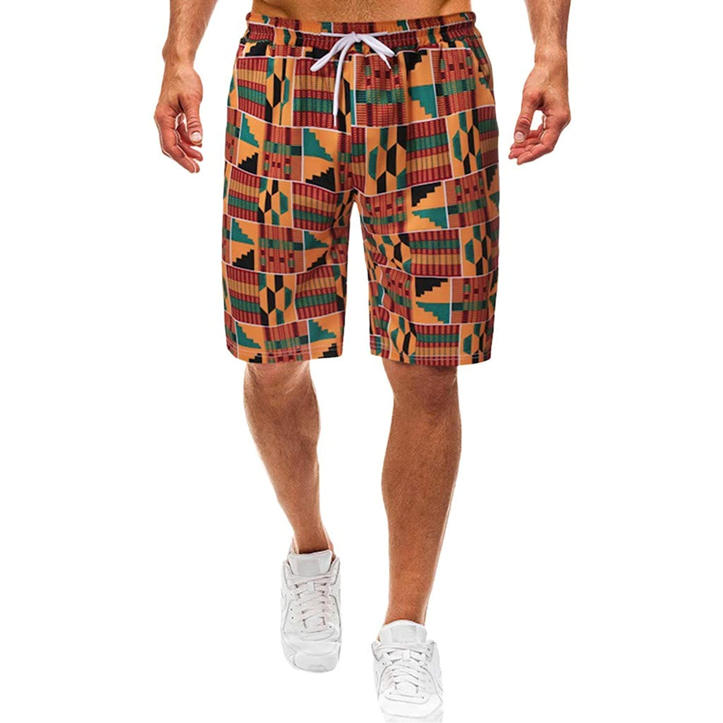 Featurestop Mens Shorts Casual Stretch Waist with Pocket Beach Sport Quick Dry Shorts Pants