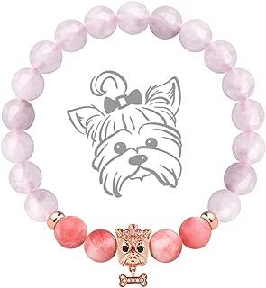 Karseer Anxiety Gemstone Bracelet Pink and Purple Chalcedony 8mm Semi Precious Beads Healing Stones Bracelet with Dog Charm Cute Mascot Bracelet Jewelry Gift for Women Girls