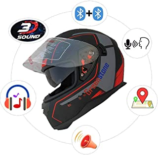 Green Stone G6 Full Face Smart Dual Bluetooth Helmet with Voice Assistance Large 600MM (Large)