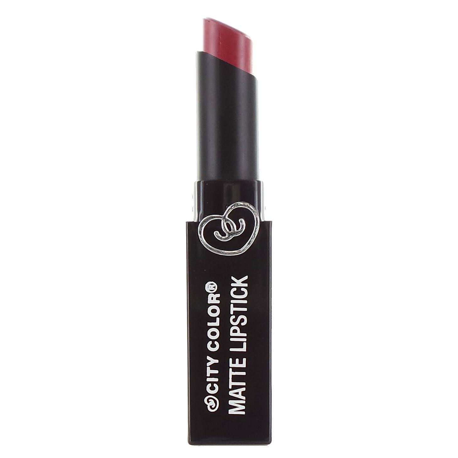 の前で加害者栄養(3 Pack) CITY COLOR Matte Lipstick L0050 - Romantic Rose (並行輸入品)