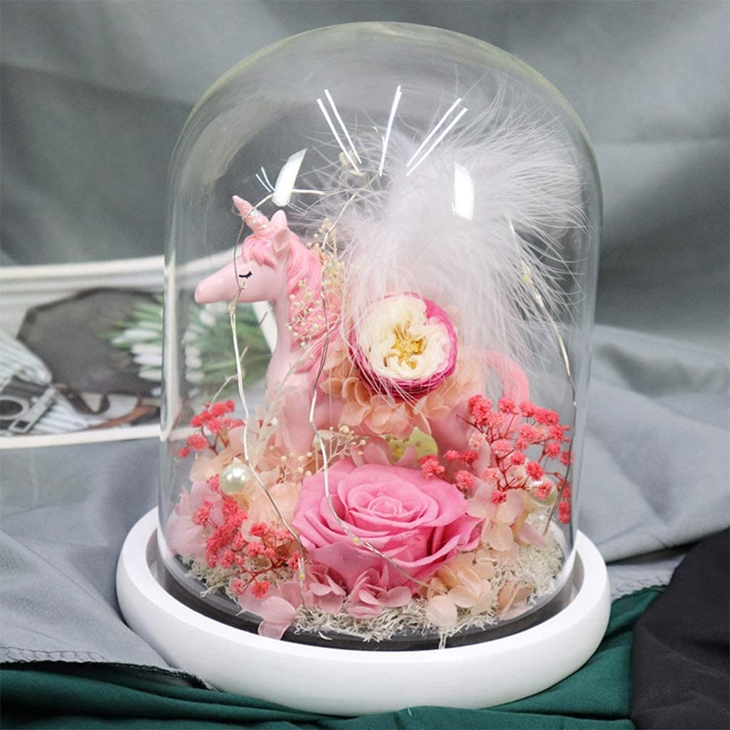 WZ Eternal Rose Unicorn in Glass Dome LED online Gifts shop Preserved Real Flower