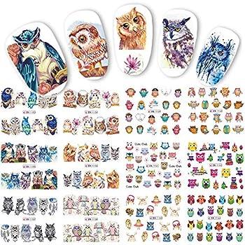 Nail Art Water Decals 12 Sheets Cartoon Owl Design for Women Kids Nail Tattoos for Fingernails Toenails Decor-Full Wraps for DIY or Salon