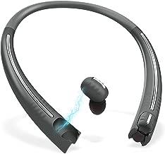 True Wireless Earbuds with Charging Neckband, Bluenin TWS Bluetooth 5.0 Headphones CVC8.0 Noise Cancelling in-Ear Earbuds Sport Sweatproof Stereo Earphones with Built in Mic (Titanium Gray)