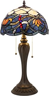 Tiffany Table Lamp Stained Glass Lotus Style Table Lamps Wide 12 Height 22 Inch for Living Room Antique Desk Beside Bedroom with Antique Style Base Sets S220 WERFACTORY