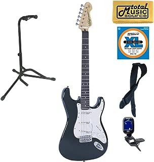 $444 » Vintage Guitars V6 Reissue Electric Guitar - Boulevard Black, Stand Bundle