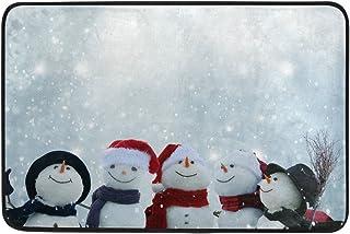 JSTEL muñecos de Nieve Invierno Navidad Felpudo Lavable Interior/Exterior jardín Oficina Felpudo, Cocina Comedor Pasillo baño Pet Alfombra de Entrada con Base Antideslizante. 23,6x 15,7Pulgadas