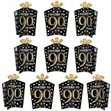 Big Dot of Happiness Adult 90th Birthday - Gold - Table Decorations - Birthday Party Fold and Flare Centerpieces - 10 Count