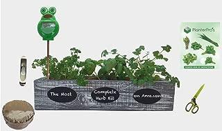 Complete Herb Garden Kit - Cedar Wood Planter, 6 Heirloom Seeds, Soil, Instructions, FREE HERB SCISSORS, GARLIC PRESS & MOISTURE METER ! (Coastal Turquoise)