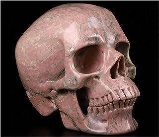 "Skullis 5.0"" Pink and Black Rhodonite Super Realistic Crystal Skull, Hand Carved Gemstone Fine Art Sculpture, Reiki Healin..."