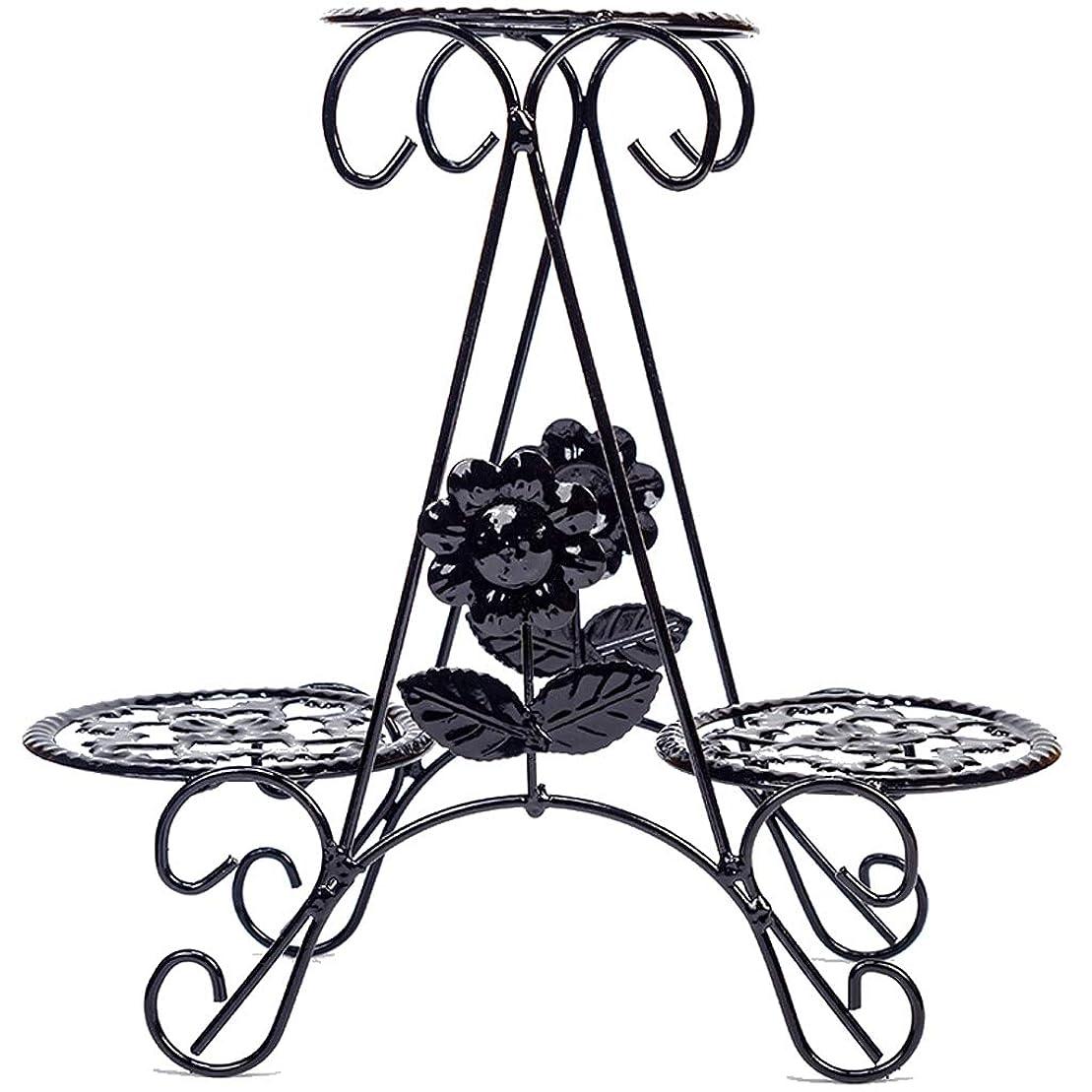 解体する行商上ミニメタルアイアンフラワーポットディスプレイラックマルチティアプラントスタンド棚エレガントなデザインフロアシェルフオフィスデスクトップバルコニー装飾(ブラック)