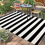 Black and White Striped Outdoor Area Rug,4'x6' Cotton Hand-Woven Reversible Washable Patio Rug for Farmhouse/Living Room/Laundry Room/Bedroom