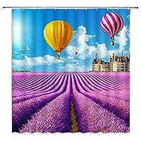 花のシャワーカーテン紫のラベンダー花畑の風景3D防水バスルームの装飾ホームバスタブポリエステルカーテン - 180X180CM