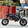 shaofu Folding Electric Bike– 350W 36V Electric Bicycle Waterproof E-Bike with 15 Mile Range, Collapsible Frame, and APP Speed Setting (Black-6AH)
