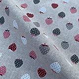 Stoff mit Erdbeeren-Motiv, Baumwolle, Leinenoptik, für