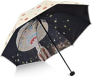LPKH Umbrella Printed Three Fold Umbrella Folding Telescopic Compact Umbrellas Parasol Windproof, Protection with Anti-UV Coating (Color : Beige)