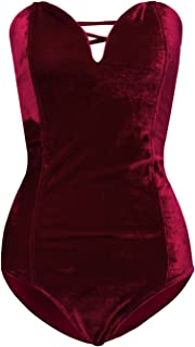 Joeoy Women's Vintage Bandeau Sweetheart Back Lace Up Velvet Bodysuit Jumpsuit Leotard