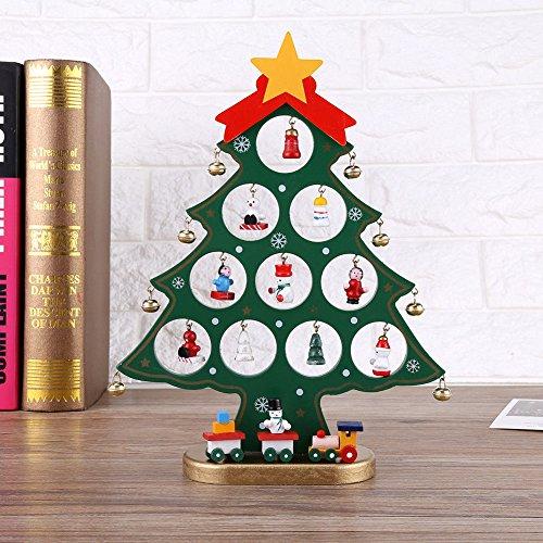 OULII Árbol de Navidad de madera bricolaje dibujos animados navidad ornamento regalo mesa escritorio decoración decoración de la Navidad (verde)