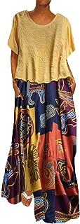 2Pcs Women Plus Size Print Dress Patchwork O-Neck Short Sleeve Floral Maxi Dress Vintage Flowy Party Swing Dress