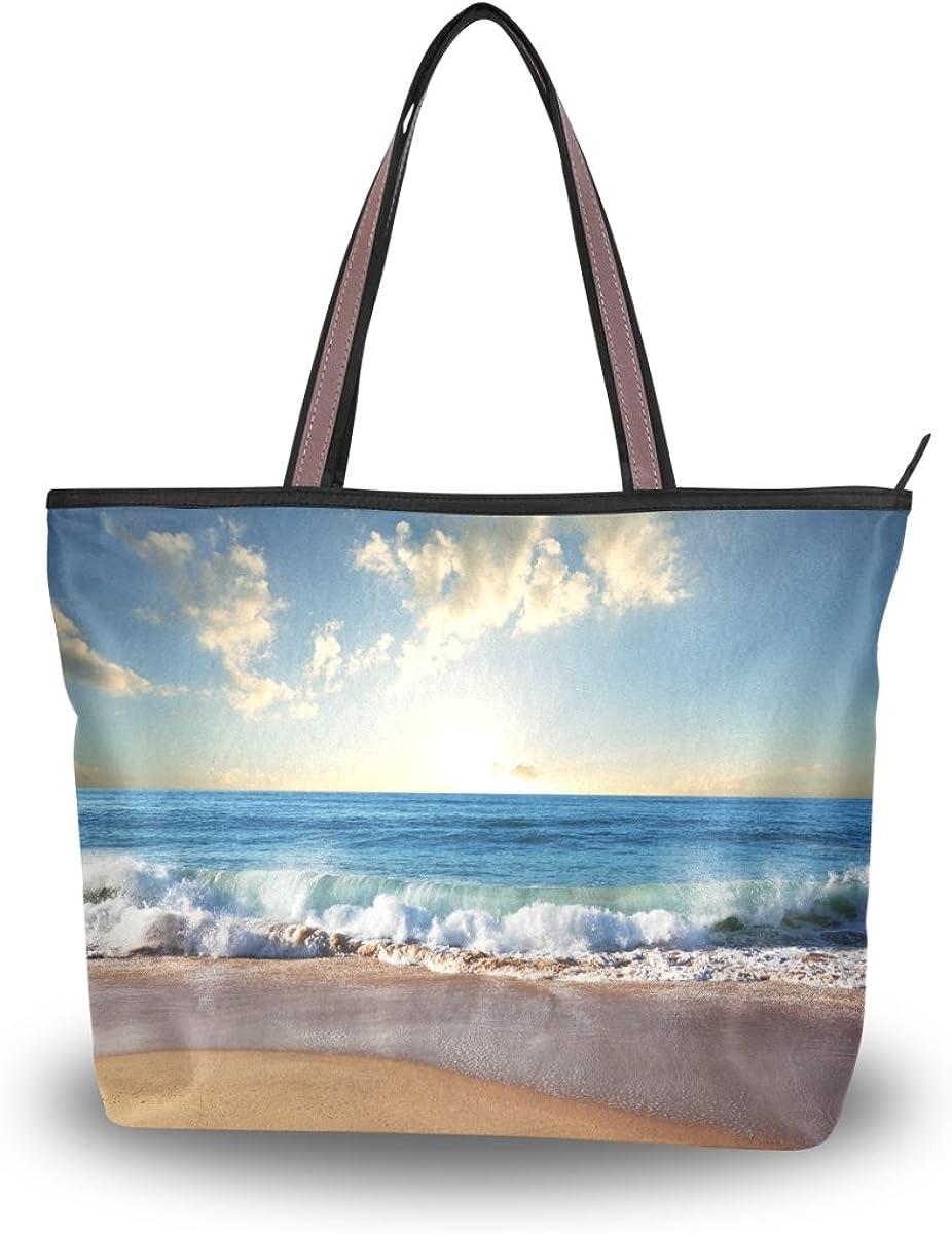 JSTEL Women Large Tote Top Handle Shoulder Bags Beach Ocean Patern Ladies Handbag