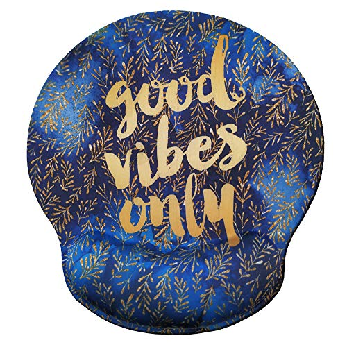 Eleville Ergonomic Mouse Pad Good Vibes Only Motivational Quotes Memory Foam Wrist Rest Lycra Cloth Top and Non-Slip Base Cute Fashionable Design for Gaming Office Home Travel emp5